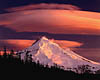 Mount Hood - Alpenglow and Lenticular Clouds (69k)